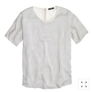 J Crew Silky-Front Tee - Striped